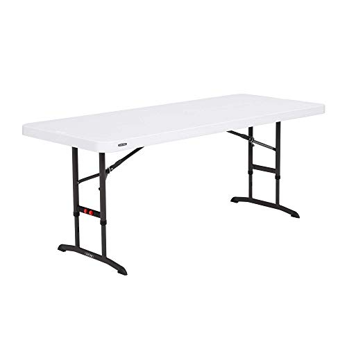 Lifetime 80752 Commercial Adjustable Height Folding Table, 6-Foot, White Granite (Plastic Table High)