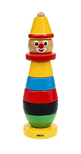 BRIO World - 30120 Stacking Clown | 9 Piece Wooden Stacking Toy for Kids Ages 1 and Up (Clown Shape)