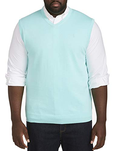 Harbor Bay by DXL Big and Tall V-Neck Sweater Vest, Aruba Blue, 3XL