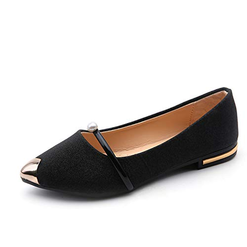 Awmerny Boots New Ladies Flat Shoes Casual Women Shoes Comfortable Pointed Toe Flat Shoes M989 Black -