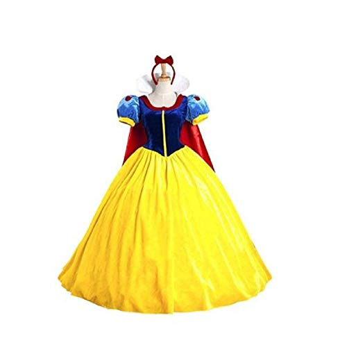 Peachi Adult Woman Princess Costume with Headband (Teens & Adult S-XXL) for Halloween Cosplay Party