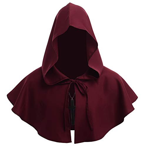 BLESSUME Friar Medieval Hooded Robe Monk Renaissance Priest Robe Halloween Cosplay Costume]()