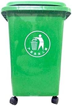 缶、屋外の厚み付けプラスチック製多機能ごみ箱コミュニティ工業用ゴミ箱ホイールと緑のゴミ箱 (Color : Green, Size : 50L)