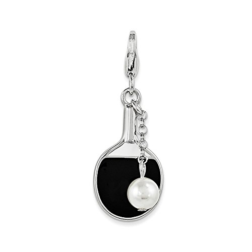 Sterling Silver SterlingSilver Enamel Simulated Pearl Paddle Lobster Clasp Charm Solid 12 mm 24 mm Pendants & Charms -