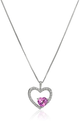 Lavari – 5.40 Ct Heart Pink Sapphire and Diamond Accent 925 Sterling Silver Pendant