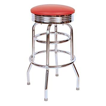 Richardson Seating Retro 1950s 30 Chrome Swivel Bar Stool with Red Seat