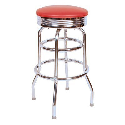 Sensational Retro Chrome Swivel Bar Stool With Red Metal 30H Onthecornerstone Fun Painted Chair Ideas Images Onthecornerstoneorg