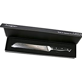 "Artigee Professional Knives for Chef's with Acacia Wood Handles - High Durability Full Tang VG-10 High Carbon Damascus Steel Knives - Master Level Chefs Choice 6 VG-10 8"" Bread Knife Ultra Premium Grade Japanese VG10 Damascus Stainless Steel, Corrosion Resistant and High Level Durability, 62+ Rockwell Hardness, Engineered with 67 Layers of Stainless Steel That Will Remain Sharp Even With Intense Use Perfect Balance - Full-Tang Design with Excellent Weight Distribution for Precision Use 