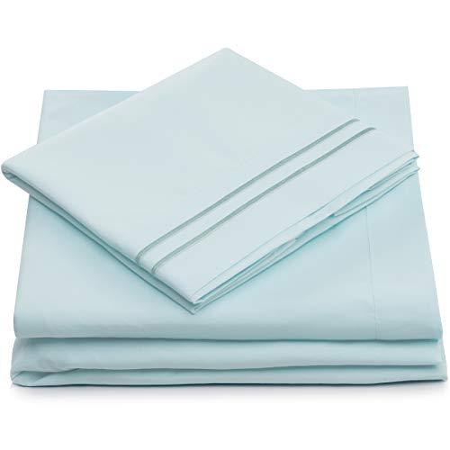 Split King Bed Sheets Baby Blue Luxury Sheet Set Deep Pocket Super Soft Hotel Bedding Cool Wrinkle Free 2 Fitted 1 Flat 2 Pillow Cases Light Blue Splitking Sheets 5 Piece