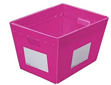 Lightweight Water-Resistant, Storage Box Collapsible Tote PackAways Reusable Plastic Postal Tote Pink Pack of 6