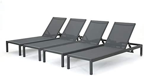 Christopher Knight Home Coral Bay Outdoor Aluminum Chaise Lounges with Mesh Seat, 4-Pcs Set, Grey Dark Grey