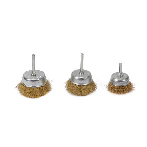 3Pcs 2-3Brass Wire Wheel Cup Crimped Brush Set 1//4 Shank For Rotary Tool