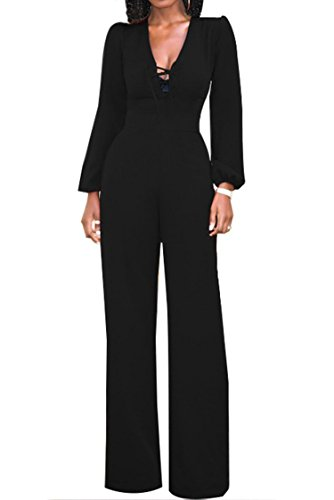 Unique-Shop Womens Chest Crisscross Bandage Jumpsuits Long Sleeve Slim Wide Leg Pants,X-Large,Black