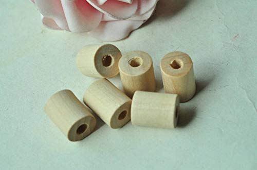 FidgetGear 25pcs Wooden Barrel Unfinished Natural Wood Bead Cylinder Necklace -