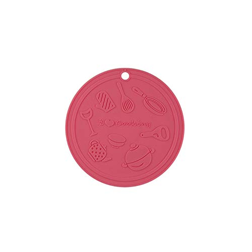 Drink Coasters,Silicone Round Non-Slip Anti-Scalding Kitchen Dining Table Pot Mat Tablemat Plate Dish Bowl Cup Pad Food Grade Placemat,Pink,15Cm,Round