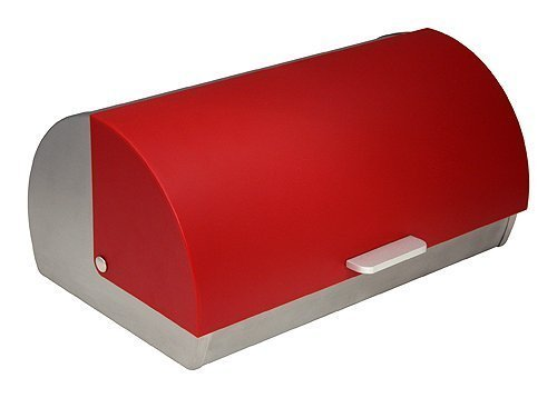 - ZUCCOR ZBXGR Genoa Brushed Stainless Steel Bread Storage Box with Red Polystyrene Front Cover, 15.38 X 10 X 7.25