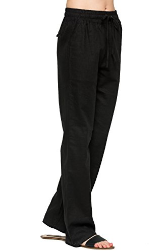 Womens Linen Drawstring - My Yuccie Women's Casual Comfy Drawstring Linen Pants Long with Band Waist (S - 3XL) (Black, X-Large)