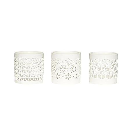 Ceramic Tealight Candle Holder Votive Set of 3 Danish Design By Hubsch