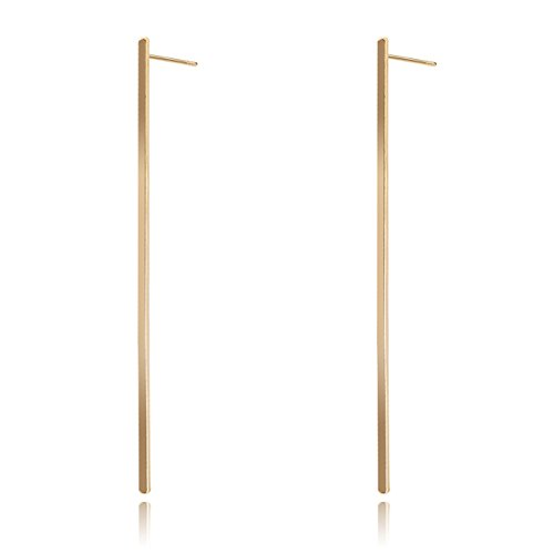Feximzl 3.94 Inches Long Bar Gold and Silver Plated Post Stud Earrings Minimalist Jewelry (Gold)