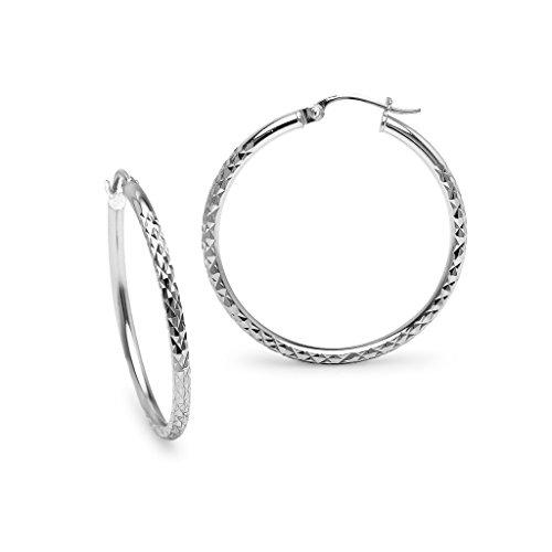 (Sterling Silver 2x30mm Round Diamond Cut Hoop Earrings ,Womens One Pair Set)
