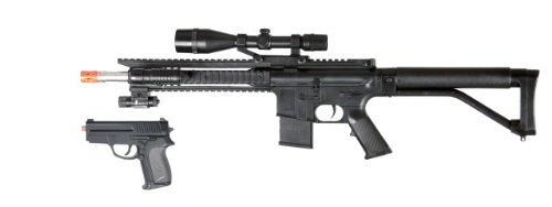 bbtac p1137 airsoft gun spring airsoft rifle w/ scope, tactical red dot light & flashlight and bonus spring airsoft pistol in combo box, with bbtac warranty(Airsoft Gun)