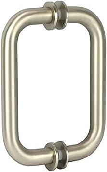 "6/"" Brushed Nickel Pull Handle Back to Back Frameless Shower Glass Door"