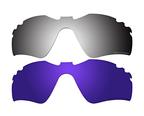 2 Pairs Polarized Replacement Lenses Purple & Black Mirror f