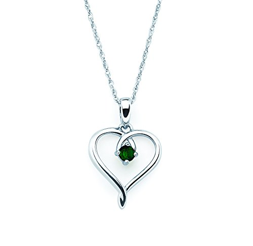 925 Sterling Silver Created Emerald May Birthstone Heart Pendant Necklace with 18