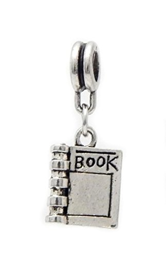 J&M Dangle Book Charm Bead for Charms Bracelets