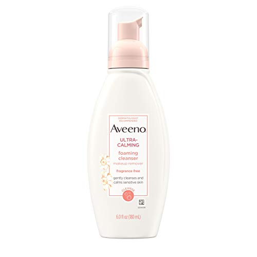 Aveeno Ultra-Calming Foaming Cleanser and Makeup Remover for Dry, Sensitive Skin, 6 fl. oz (Aveeno Remover Makeup)
