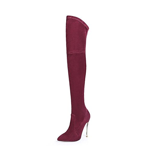 NVXIE Women Ladies Over Knee Thigh Elastic Boots Stiletto High Heel Shoes Black Brown Suede Pointed Autumn Winter WINERED-EUR42UK85