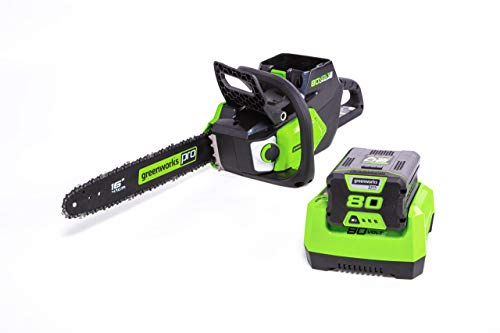 Greenworks PRO 16-Inch 80V Brushless Chainsaw with 2.0 AH Battery Included CS80L211 (Renewed)