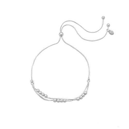 Sterling Silver Box Chain Two-strand Bracelet with Beads Adjustable Length (Silver Length Adjustable Sterling Bracelet)