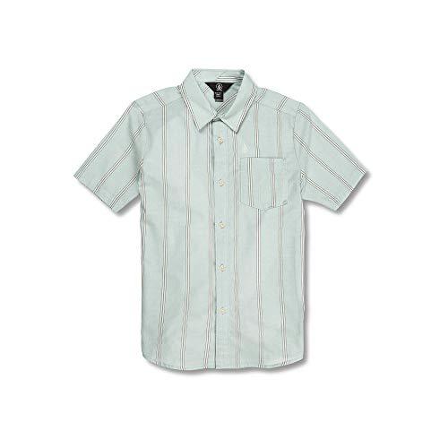 Large Volcom Big Boys Rilee Button Up Short Sleeve Shirt sea Glass