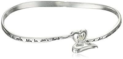 "Sterling Silver ""A Mother Holds Her Child's Hand For A Short While and Their Hearts Forever"" Double Heart Bangle Bracelet"