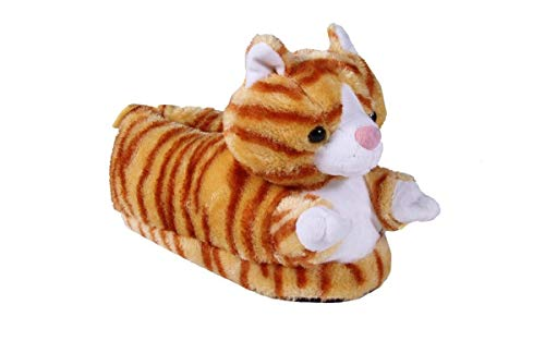 9009-1 - Cat - Small - Happy Feet Animal Slippers ()