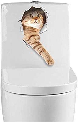 Jewh Cat Vivid 3D Smashed Switch Wall Sticker - Bathroom Toilet Kicthen Decorative Decals Funny Animals Decor Poster - PVC Mural Art (D-14148)