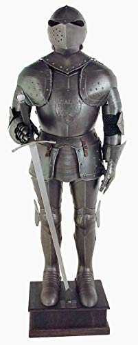 NauticalMart Black Knight Medieval Suit of Armor - Full Size Aged Antiqued Finish