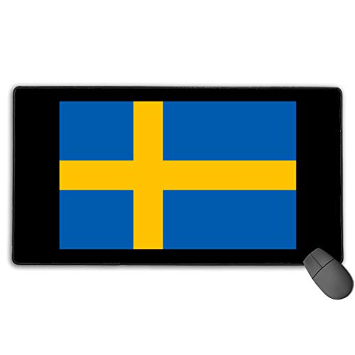 LNUO-2 Extended Large Gaming Mouse Pad/Mat, Swedish Flag Custom Mouse Pads with Non-Slip Rubber Base for Keyboard PC, Durable Stitched Edges -