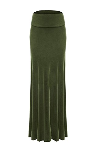 Fold Over Flare Skirt - Sportoli Women Maxi Skirt Solid Long Flare Rayon Spandex Fold Over - Made in USA - Army Green (Size L)