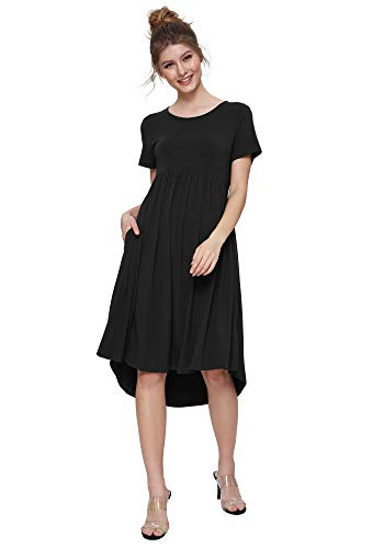 Weintee Women's Flowy High-Low Dress with Pockets L Black