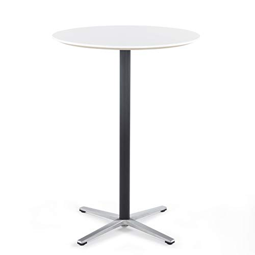 Sunon Round Bar Table Tall Bar Table for Pub/Bistro/Cocktail Table with Height Black Pedestal and Four Star Leg (Moon White,43.3-Inch Height)