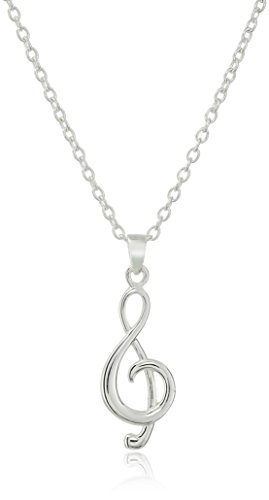 (Hallmark Jewelry Sterling Silver Treble Clef Love Note Pendant Necklace, 18