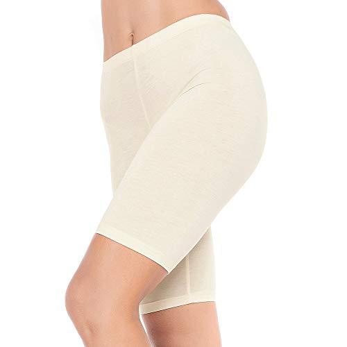 (MANCYFIT Slip Shorts for Women Short Leggings Mid Thigh Legging Plus Size Undershorts Flat Beige Medium)