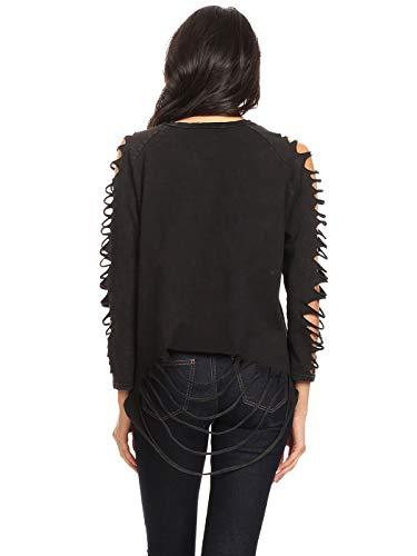 ANNA-KACI dam snitt sommar höst mode långärmad lös avslappnad punkrock hippie-tofs kvinnor t-shirt blus toppar pullover