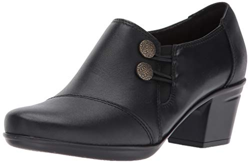 Clarks Leather Slip - Clarks Women's Emslie Warren Slip-on Loafer,Black Leather,8.5 W US