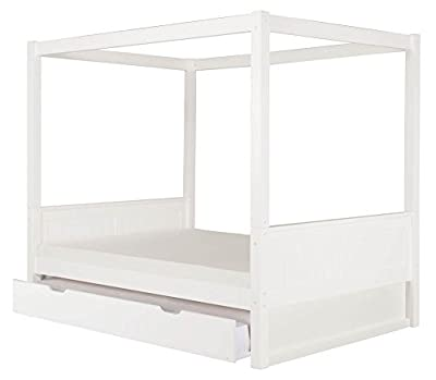Camaflexi Full Canopy Bed with Trundle - Panel Headboard - White Finish