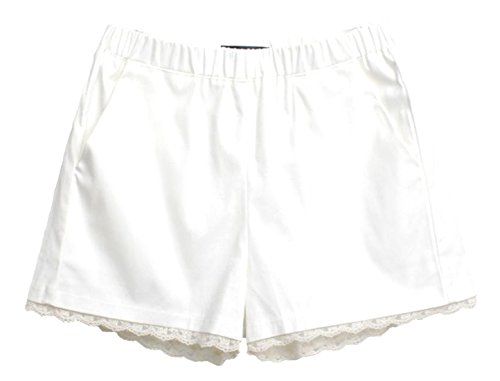 Women Elastic High Waist Lace Shorts White - 4