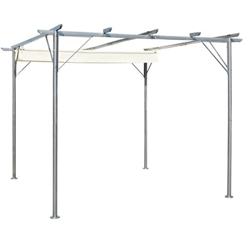vidaXL Garden Pergola Retractable 98#039x98#039 Gazebo Outdoor Canopy Shade Roof