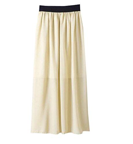 Aoliait Femme Jupe Mousseline ElGant Jupe Longue Grande Taille Femelle Skirt Taille Extensible Jupe Glamour Jupe Beige